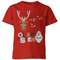 Frozen Olaf and Sven Kids' Christmas T-Shirt - Red - 7-8 Years - Red
